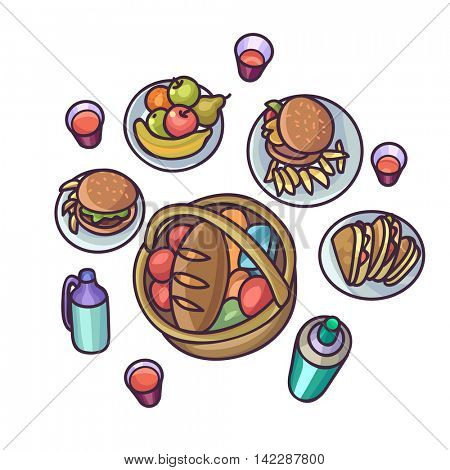 Picnic food and drink set. Outdoor picnic objects: sandwich, vegetable, fruit and bread. Vector isolated iIlustration on white background