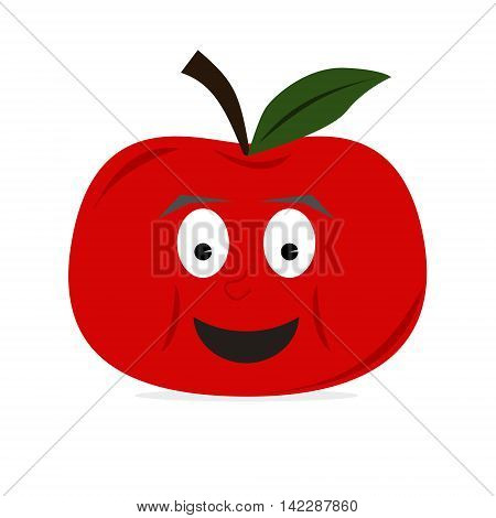 Apple fruit character with big smile on face. Red color. Isolated vector illustration.