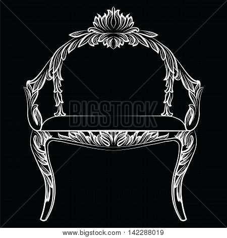 Baroque luxury style armchair furniture. Throne with luxurious rich ornaments. French Luxury rich carved ornaments decoration. Vector Victorian exquisite Style furniture. Vector sketch