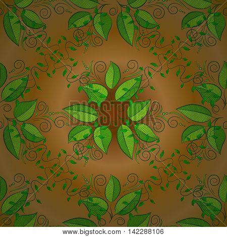 Abstract pattern on yellow background with green leaves elements. Vector illustration. Pattern background.
