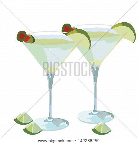 Martini cocktail isolated on a white background. Realistic hand drawn illustration