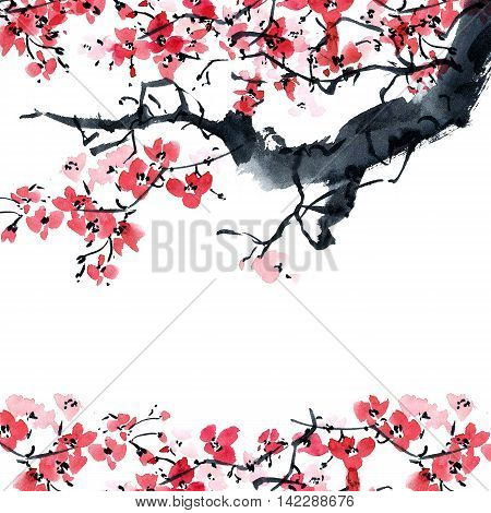 Watercolor and ink illustration in style sumi-e, u-sin. Oriental traditional painting. Beautiful background for card or invitation.
