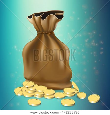 Sack with gold coins isolated on background