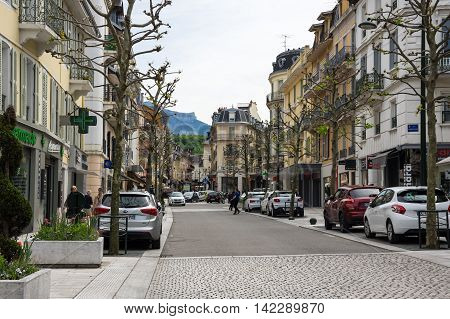 AIX-LES-BAINS FRANCE - 30 APRIL 2015: Street of french resort Aix-Les-Bains one of the important French spa towns that has the largest fresh water marina in France
