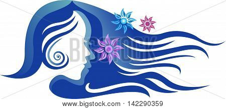 Illustration art of a beauty girl with long hair logo with isolated background