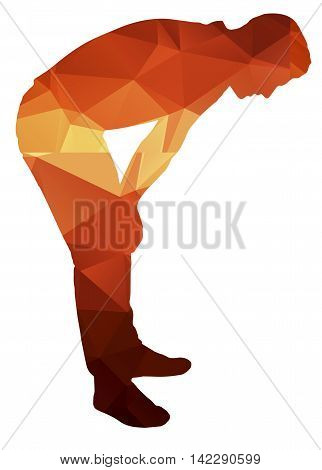 Poligon silhouette of a man who is tired. Fashion