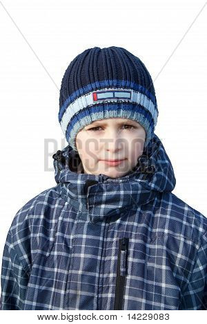 Small Boy Dressed To Winter Cloth Isolated