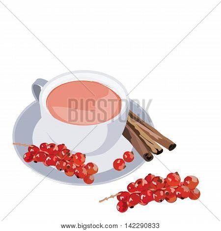 Cup of tea with cranberry and cinnamon on white background. Vector illustration