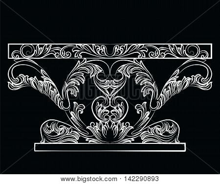Rich Baroque Table. French Luxury rich carved ornaments furniture. Vector Victorian Royal Style decorated furniture
