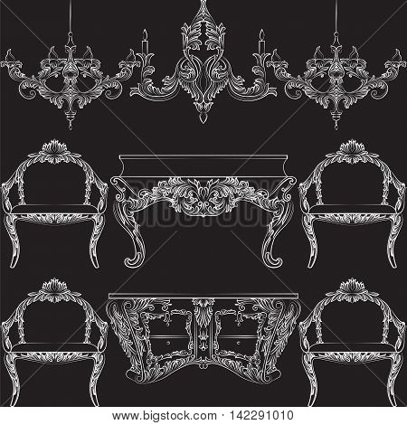 Fabulous Rich Baroque Rococo furniture set. French Luxury rich carved ornaments decorations. Vector Victorian exquisite Style ornamented wooden furniture and lamps