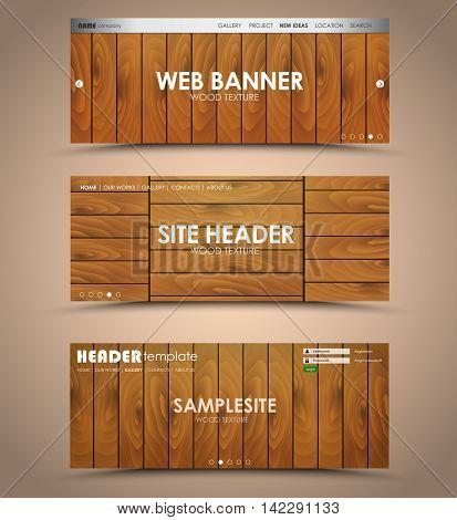 Set Of Wooden Web Header