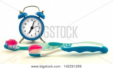 Composition from blue clock and toothbrushes with magenta toothpaste isolated on white background
