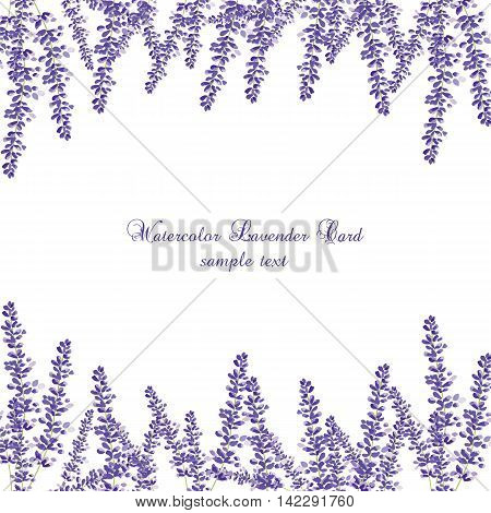Lavender Card Border Vector. Gentle blossom floral bouquet. Vintage Label with lavender beautiful fragrance