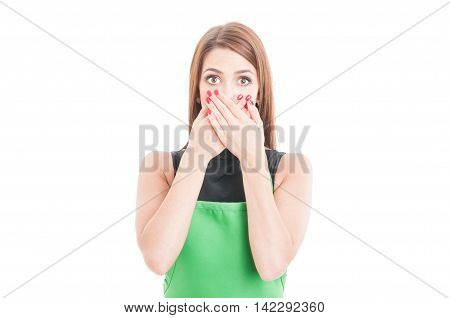 Scared Saleswoamn Covering Her Mouth