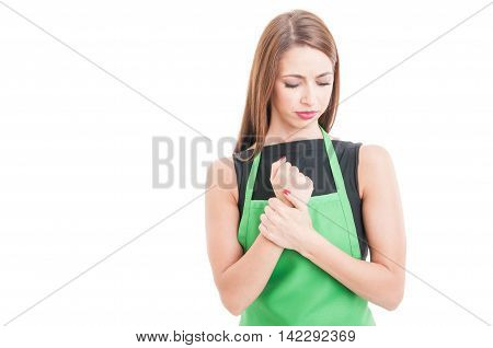 Beautiful Female Employee With Wrist Pain