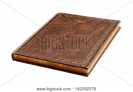 brown book with gold pages isolated on white background