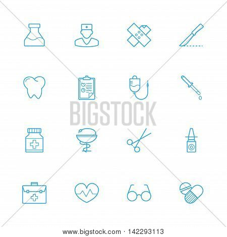Medicine blue line icons Treatment blue line icons