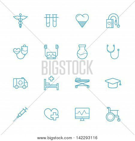 Treatment blue line icons Medicine blue line icons