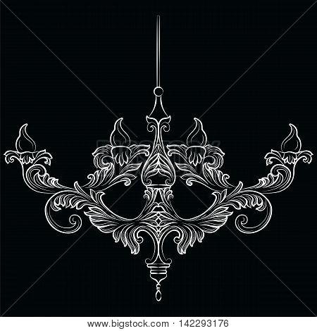 Exquisite Rich Baroque Classic chandelier. Luxury decor accessory design. Vector illustration sketch