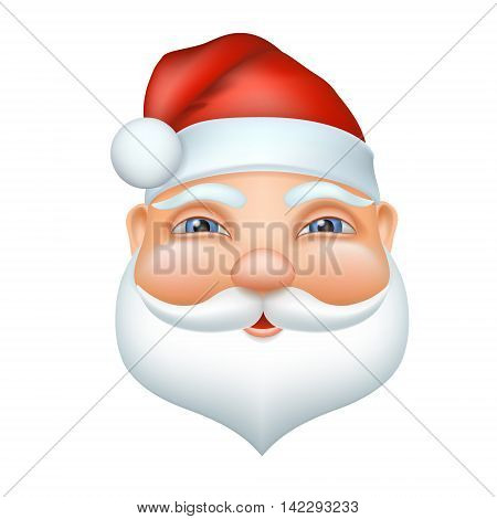 Santa claus cheerful face. Vector christmas illustration in cartoon 3d realistic style. Grandpa with a white beard and mustache, a red cap.