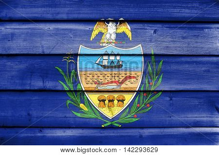 Flag Of Allegheny County, Pennsylvania, Usa, Painted On Old Wood Plank Background
