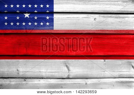 Flag Of Amazonas State, Brazil, Painted On Old Wood Plank Background