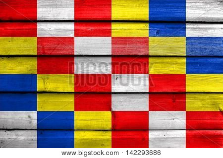 Flag Of Antwerp Province, Belgium, Painted On Old Wood Plank Background