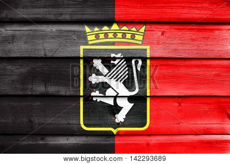 Flag Of Aosta Valley With Coat Of Arms, Italy, Painted On Old Wood Plank Background