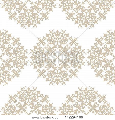 Vector Baroque Vintage floral Damask pattern. Luxury Classic ornament Royal Victorian texture for textile fabric. Taupe color