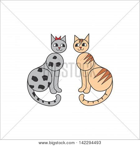 Cats love story. grey and red. vector illustration