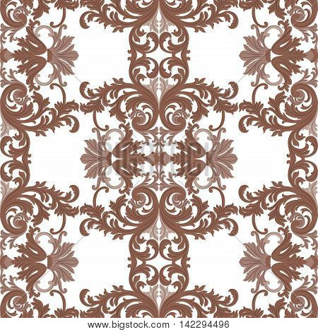 Vintage Rococo ornament pattern. Vector damask decor. Royal Victorian texture for textile fabric. Brown color