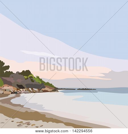 Exotic Island Paradise Beach at Sunset or Sunrise. Summer Beach Tropics. Vector background card in pastel rose quartz and serenity colors