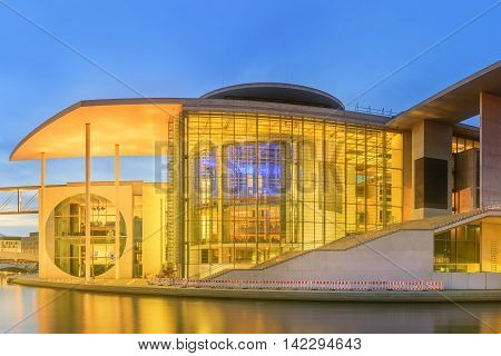 Panoramic view of new parliamentary complex in the new government quarter of Berlin, Germany.