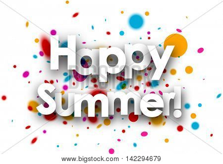 Happy summer paper background with color drops. Vector illustration.
