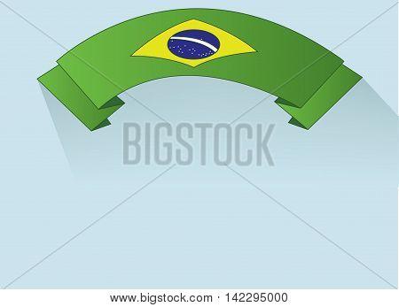 Flag of Brasil design on green ribbon. Digital vector image