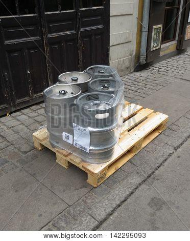 COPENHAGEN DENMARK - CIRCA JUNE 2016: metal beer barrel also known as keg