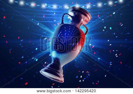 Football championship. Cup. Sport concept. 3d render.