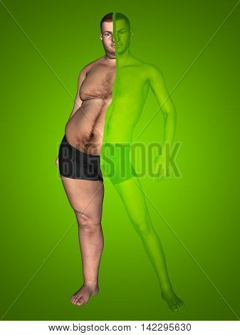 3D illustration of a concept or conceptual fat overweight vs slim fit with muscles young man on diet on green background