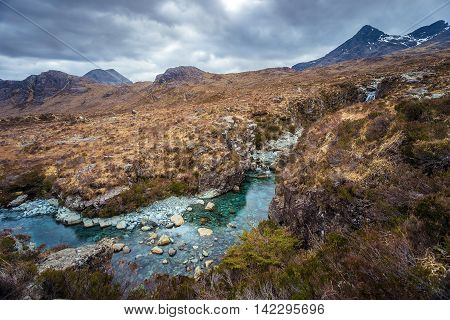The Scottish Highlands. River Sligachan and the Cuillins on a cloudy afternoon - Isle of Skye, Scotland, UK
