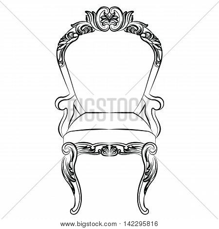 Baroque luxury style armchair furniture set collection. Upholstery with luxurious rich ornaments. French Luxury rich carved ornaments decoration. Vector Victorian exquisite Style furniture