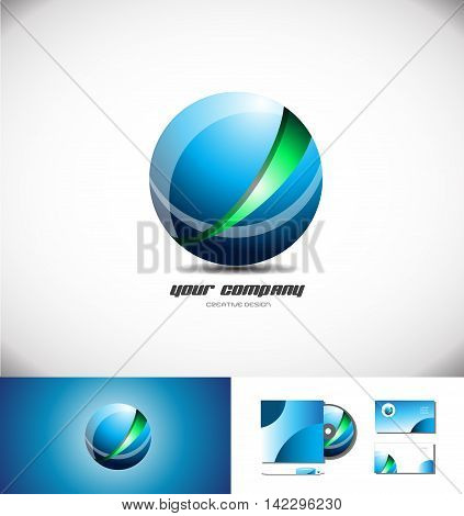 Red green abstract sphere logo design 3d icon vector company element template games media corporate globe global