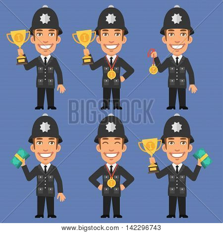 Vector Illustration, English Policeman Holds Cup Medal and Money, Format EPS 8