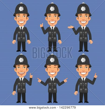Vector Illustration, English Policeman Indicates and Shows, Format EPS 8