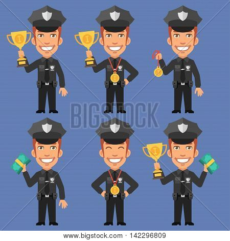Vector Illustration, Policeman Holds Cup Medal and Money, Format EPS 8
