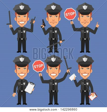 Vector Illustration, Policeman Holds Weapons and Stop Sign, Format EPS 8