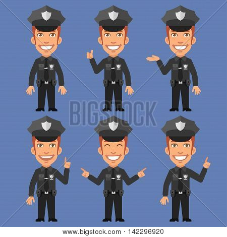 Vector Illustration, Policeman Indicates and Shows, Format EPS 8