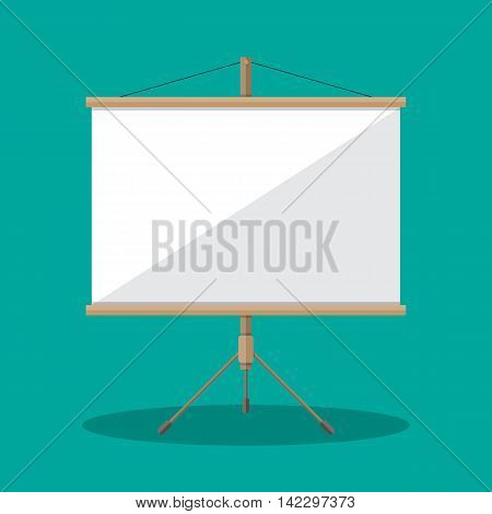 Empty Projection screen, Presentation board, vector illustration in flat style on green background