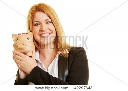Young lady with a piggy bank on her hands and smiling