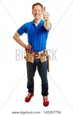 Handyman holding thums up and smiling as a sign of congratulation