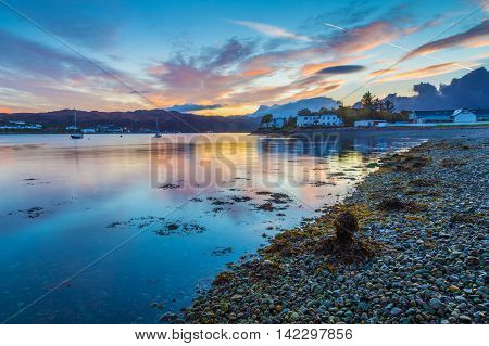 Beautiful Scottish sunset at Kyleakin village - Isle of Skye, Scotland, UK